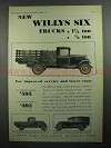 1931 Willys Six Truck Ad - For Improved Service