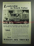 1931 Willys Six Truck Ad - Leadership in Value