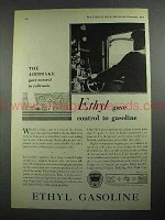 1931 Ethyl Gasoline Ad - Gave Control to Gasoline