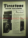 1931 Firestone Truck Balloons Tire Ad - Prompt Service