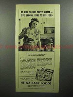 1945 Heinz Baby Food Ad - Boil Baby's Water