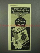 1945 Van Houten's Cocoa Ad - Works Wonders for Baking