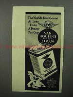 1945 Van Houten's Cocoa Ad - World's Best at a Penny a Cup