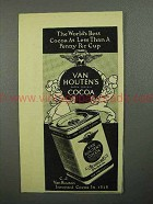 1945 Van Houten's Cocoa Ad - Less Than a Penny a Cup