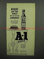 1952 A-1 Sauce Ad - When you Serve Him Hamburgers
