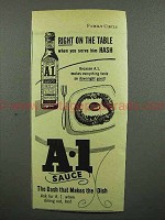 1952 A-1 Sauce Ad - When you serve him Hash
