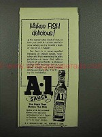 1953 A-1 Sauce Ad - Makes Fish Delicious