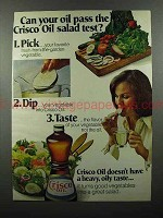 1978 Crisco Oil Ad - Can Your Oil Pass the Salad Test?