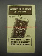 1935 Morton's Iodized Salt Ad - When it Rains it Pours
