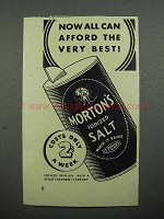 1936 Morton's Iodized Salt Ad - Afford the Best