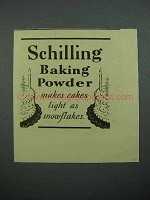 1937 Schilling Baking Powder Ad - Makes Cakes Light