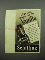 1938 Schilling Vanilla Ad - Your Recipes Call For