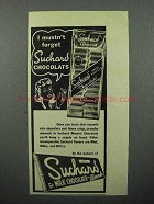 1945 Suchard Chocolate Ad - I Mustn't Forget
