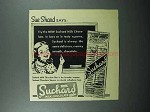 1946 Suchard Chocolate Ad - Sue Shard Says