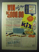 1940 Kix Cereal Ad - Win a First Prize of $5,000.00