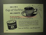 1952 Folger's Coffee Ad - Take 5 for Cup and Cigarette