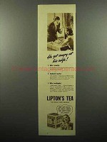 1938 Lipton's Tea Ad - He Got Angry at His Wife