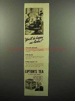 1938 Lipton's Tea Ad - You'll Be Happy as Larks