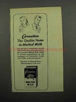 1945 Carnation Malted Milk Ad - The Quality Name