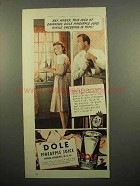 1940 Dole Pineapple Juice Ad - Drinking While Dressing