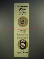 1937 Karo Syrup Ad - Another Recipe - Date Loaf