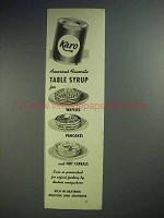 1939 Karo Syrup Ad - America's Favorite Table Syrup