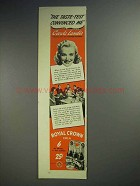 1941 Royal Crown RC Cola Soda Ad - Carole Landis