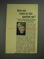 1944 Tampax Tampon Ad - Have You Voted Yet?