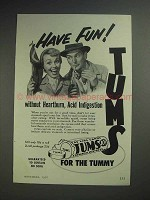1952 Tums Ad - Have Fun Without Heartburn, Indigestion