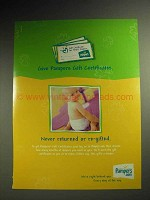 2001 Pampers Diapers Gift Certificate Ad - Re-Gifted