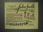 1937 Polident Ad - Clean and Purify False Teeth