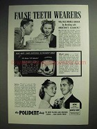 1946 Polident Ad - False Teeth Wearers