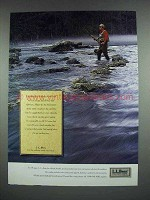 1990 L.L. Bean Fashion Ad - I've Fished a Lot of Places