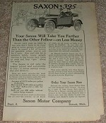 1914 Saxon Car Ad, Will take you Further!!!
