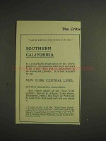 1904 New York Central Railroad Ad - Southern California