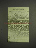 1914 Grape-Nuts Cereal Ad - Food Facts