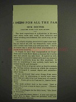 1914 Grape-Nuts Cereal Ad - Sick Doctor