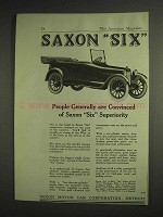 1917 Saxon Six Car Ad - Convinced of Superiority