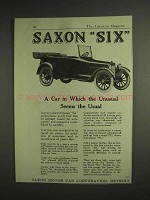 1917 Saxon Six Car Ad - Unusual Seems the Usual