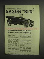 1917 Saxon Six Car Ad - Certain and Postive Proof