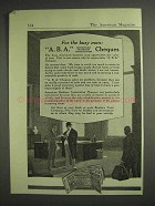1917 A.B.A. Traveler's Cheques Ad - For The Busy Man