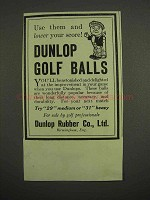 1917 Dunlop Golf Balls Ad - Use and Lower Your Score