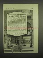 1918 A.B.A. Travelers Cheques Ad - Our Boys Go Shopping