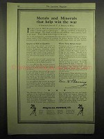 1918 Hercules Powder Ad - Metals and Minerals Win War