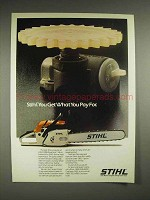 1982 Stihl 028 Wood Boss chainsaw Ad - What You Pay For