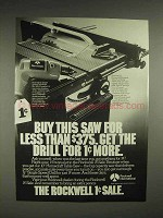 1981 Rockwell International Drill, Table Saw Ad