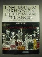 1978 Waterford Crystal Decanters Ad - What Drink is In