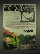 1978 Poulan Micro XXV chainsaw Ad - Can't Pronounce