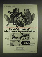 1977 McCulloch Mac 140 chainsaw Ad - Its Features