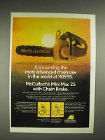 1975 McCulloch Mini Mac 25 chainsaw Ad - Most Advanced